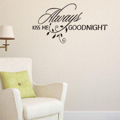 Always Kiss Me Goodnight Letters Patterned Wall Decal