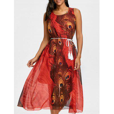 Tassel Belted Peacock Feather Print Chiffon Dress