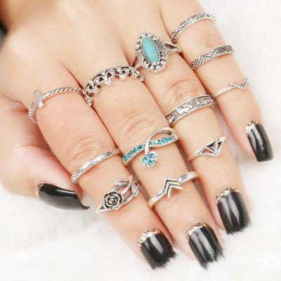 12 Pcs Flower Rhinestone Series Rings