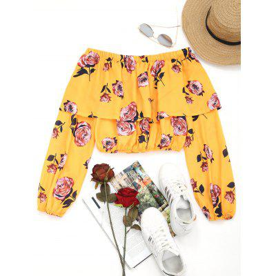 От плеча Flipping Floral Cropped Blouse
