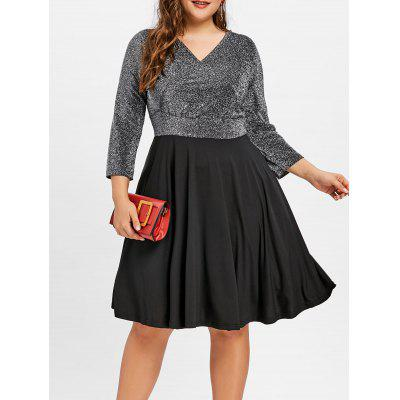 Buy BLACK 3XL Plus Size Lurex Surplice Dress for $28.62 in GearBest store
