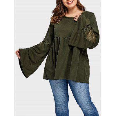 Plus Size High Waist Bell Sleeve Tunic Top