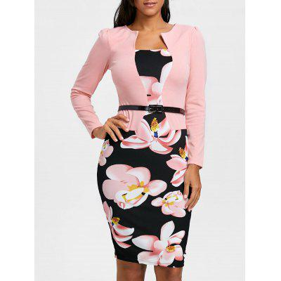 Floral Print Belted Bodycon Dress