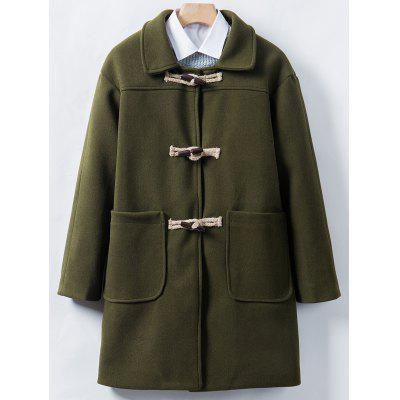 Turndown Collar Horn Button Longline Woolen Coat
