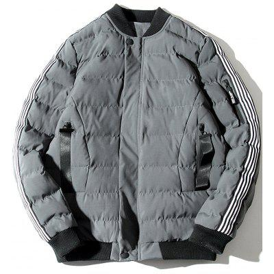 Stripe Zip Up Padded Baseball Jacket