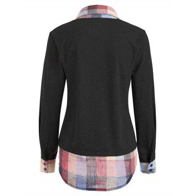 Plaid Patchwork Faux Two Piece SweatshirtSweatshirts &amp; Hoodies<br>Plaid Patchwork Faux Two Piece Sweatshirt<br><br>Material: Polyester, Spandex<br>Package Contents: 1 x Sweatshirt<br>Pattern Style: Plaid<br>Season: Fall, Spring, Winter<br>Shirt Length: Regular<br>Sleeve Length: Full<br>Style: Fashion<br>Weight: 0.3250kg