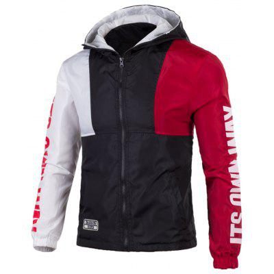 Graphic Zip Up Color Block Lightweight Jacket