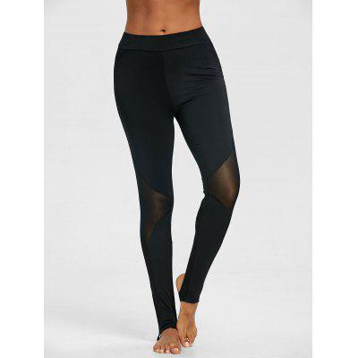 Sheer Mesh Panel Sports Stirrup LeggingsPants<br>Sheer Mesh Panel Sports Stirrup Leggings<br><br>Closure Type: Elastic Waist<br>Fit Type: Skinny<br>Length: Normal<br>Material: Polyester<br>Package Contents: 1 x Leggings<br>Pant Style: Pencil Pants<br>Pattern Type: Solid<br>Style: Casual<br>Waist Type: Mid<br>Weight: 0.2300kg