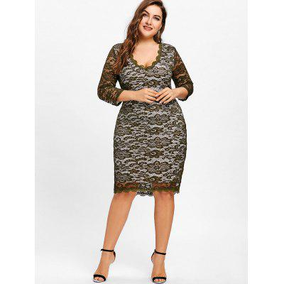 Plus Size Plunging Floral Lace DressPlus Size Dresses<br>Plus Size Plunging Floral Lace Dress<br><br>Dresses Length: Knee-Length<br>Embellishment: Lace<br>Material: Polyester<br>Neckline: Plunging Neck<br>Package Contents: 1 x Dress<br>Pattern Type: Solid<br>Season: Fall, Spring<br>Silhouette: Bodycon<br>Sleeve Length: 3/4 Length Sleeves<br>Style: Casual<br>Weight: 0.4150kg<br>With Belt: No