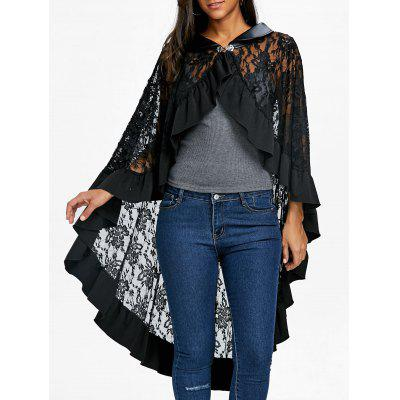 Ruffle Trim Lace Cape