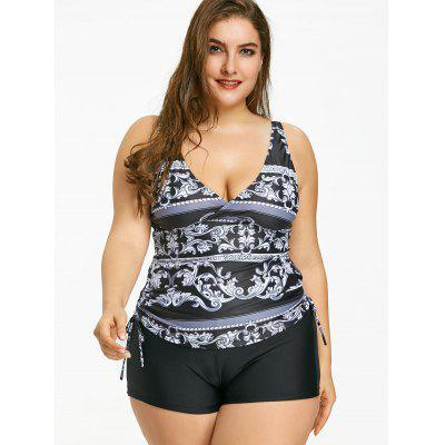 Plunge Neck Printed Plus Size Tankini SetPlus Size<br>Plunge Neck Printed Plus Size Tankini Set<br><br>Bra Style: Padded<br>Elasticity: Elastic<br>Gender: For Women<br>Material: Nylon, Spandex<br>Package Contents: 1 x Top  1 x Bottom<br>Pattern Type: Print<br>Support Type: Wire Free<br>Swimwear Type: Tankini<br>Waist: Natural<br>Weight: 0.4000kg