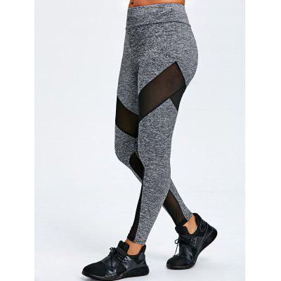 Buy GRAY L Marled Mesh Insert Leggings for $18.31 in GearBest store