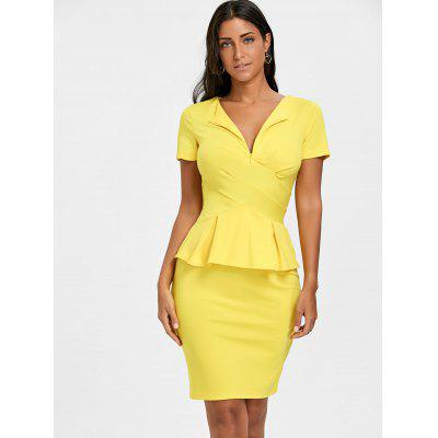 Pencil Peplum DressBodycon Dresses<br>Pencil Peplum Dress<br><br>Dresses Length: Knee-Length<br>Material: Polyester, Spandex<br>Neckline: V-Neck<br>Package Contents: 1 x Dress<br>Pattern Type: Solid<br>Season: Spring, Fall<br>Silhouette: Pencil<br>Sleeve Length: Short Sleeves<br>Style: Work<br>Weight: 0.3500kg<br>With Belt: No