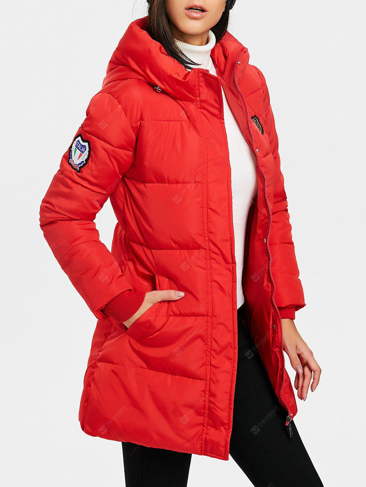Single Breasted Hooded Puffer Jacket