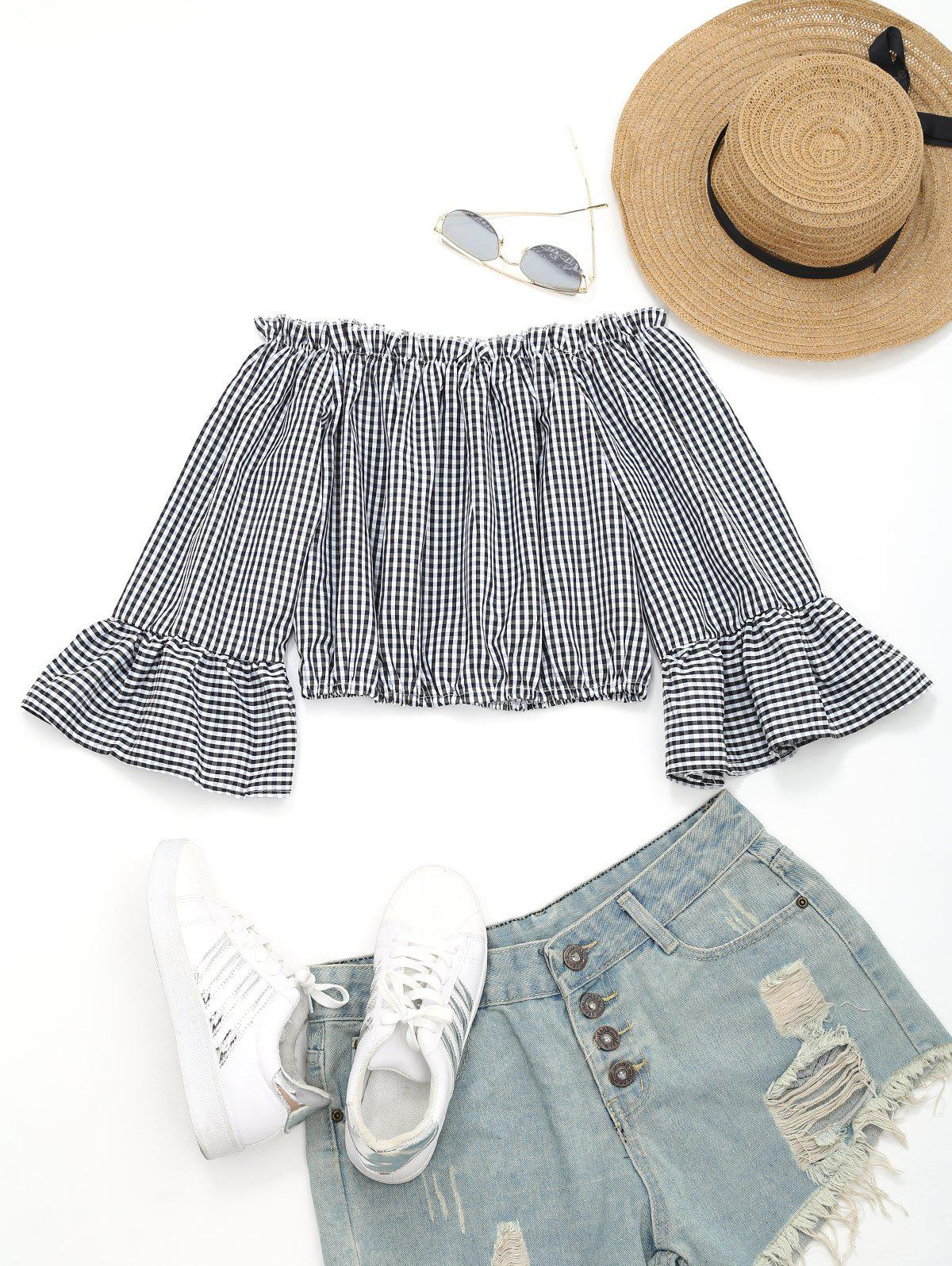 Off Shoulder Bell Sleeve Checked Blouse