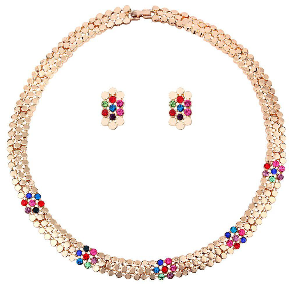 Retro Rhinestone Inlay Embellished Circle Necklace Earrings Set