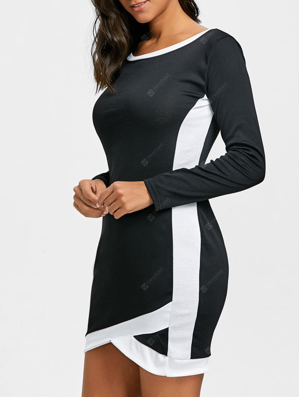 Long Sleeve Two Tone Bodycon Mini Dress