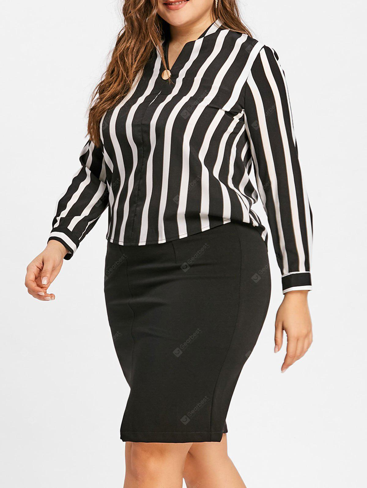 c143582fff6 Striped High Low V Neck Plus Size Blouse -  21.31 Free Shipping ...