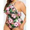 Plus Size Floral Ruffle Trim Backless Swimsuit - COLORMIX