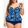 Flounce Plus Size Floral Tankini Swimsuit - COLORMIX