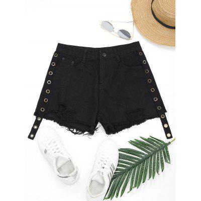 Enfeitado Distressed Frayed Hem Denim Shorts