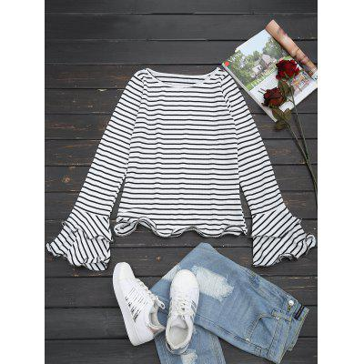 Striped Ruffled Tiered Flare Sleeve Tee