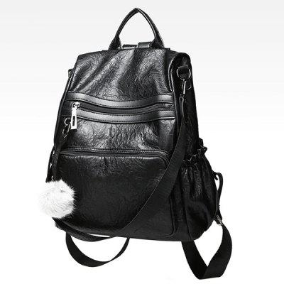 Pompom Side Pockets PU Leather BackpackBackpacks<br>Pompom Side Pockets PU Leather Backpack<br><br>Closure Type: Zipper<br>Gender: For Women<br>Handbag Size: Medium(30-50cm)<br>Handbag Type: Backpack<br>Main Material: PU<br>Occasion: Versatile<br>Package Contents: 1 x Backpack<br>Pattern Type: Solid<br>Size(CM)(L*W*H): 30*14*31CM<br>Style: Fashion<br>Weight: 1.2000kg
