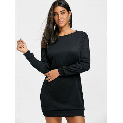 Cut Out Lace Trim Mini Sweatshirt DressWomens Dresses<br>Cut Out Lace Trim Mini Sweatshirt Dress<br><br>Dresses Length: Mini<br>Material: Polyester, Spandex<br>Neckline: Round Collar<br>Package Contents: 1 x Sweatshirt<br>Pattern Type: Patchwork<br>Season: Spring, Fall<br>Silhouette: Straight<br>Sleeve Length: Long Sleeves<br>Style: Casual<br>Weight: 0.3500kg<br>With Belt: No