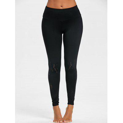 High Waist Ripped Skinny LeggingsPants<br>High Waist Ripped Skinny Leggings<br><br>Material: Polyester<br>Package Contents: 1 x Leggings<br>Pattern Type: Solid<br>Style: Active<br>Waist Type: High<br>Weight: 0.2200kg
