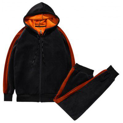 Color Block Drawstring Zip Up Sherpa Hoodie Twinset