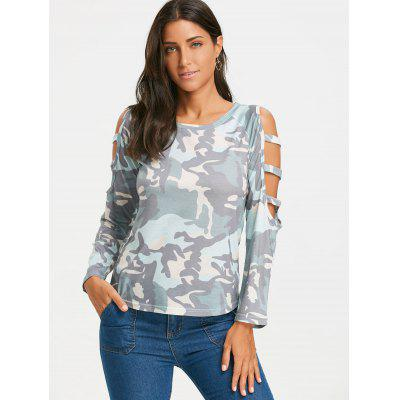 Long Sleeve Ladder Cut Camouflage T-shirtBlouses<br>Long Sleeve Ladder Cut Camouflage T-shirt<br><br>Collar: Round Neck<br>Embellishment: Cut Out<br>Material: Polyester<br>Package Contents: 1 x T-shirt<br>Pattern Type: Camouflage<br>Season: Winter, Spring, Fall<br>Shirt Length: Regular<br>Sleeve Length: Full<br>Sleeve Type: Raglan Sleeve<br>Style: Fashion<br>Weight: 0.2400kg