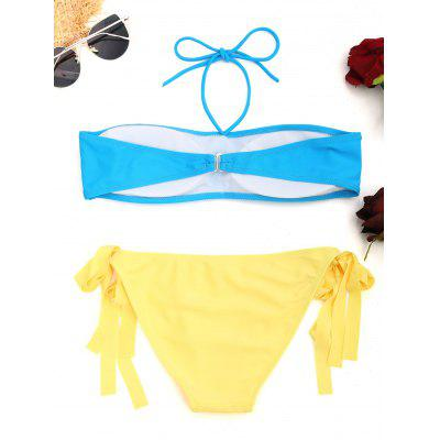 Halter Self-tie Bandeau Bikini SetLingerie &amp; Shapewear<br>Halter Self-tie Bandeau Bikini Set<br><br>Bikini Type: Bandeau Bikini<br>Bra Style: Padded<br>Elasticity: Elastic<br>Gender: For Women<br>Material: Nylon, Spandex<br>Neckline: Halter<br>Package Contents: 1 x Top  1 x Briefs<br>Pattern Type: Solid<br>Style: Sexy<br>Support Type: Wire Free<br>Swimwear Type: Bikini<br>Waist: Low Waisted<br>Weight: 0.1800kg