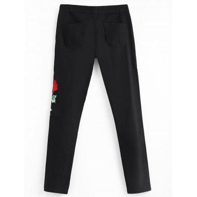 Floral Embroidered Patch Distressed PantsPants<br>Floral Embroidered Patch Distressed Pants<br><br>Closure Type: Zipper Fly<br>Embellishment: Patch Designs<br>Fit Type: Regular<br>Material: Polyester<br>Package Contents: 1 x Pants<br>Pant Style: Straight<br>Pattern Type: Floral<br>Style: Casual<br>Waist Type: Mid<br>Weight: 0.4600kg