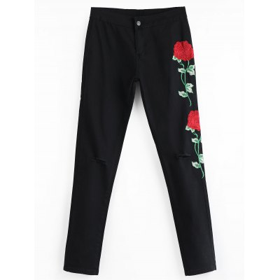 Floral Embroidered Patch Distressed Pants