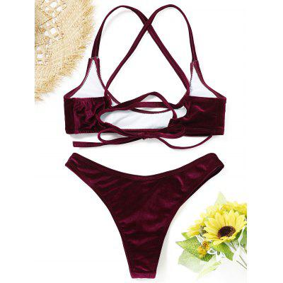 High Cut Velvet Bikini SetLingerie &amp; Shapewear<br>High Cut Velvet Bikini Set<br><br>Bra Style: Padded<br>Elasticity: Micro-elastic<br>Gender: For Women<br>Material: Nylon, Spandex<br>Neckline: Straps<br>Package Contents: 1 x Bra  1 x Briefs<br>Pattern Type: Solid<br>Style: Sexy<br>Support Type: Wire Free<br>Swimwear Type: Bikini<br>Waist: Natural<br>Weight: 0.2100kg
