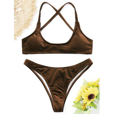 High Cut Velvet Bikini Set