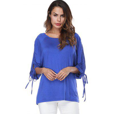 Long Slit Drawstring Sleeve T-shirtTees<br>Long Slit Drawstring Sleeve T-shirt<br><br>Collar: Round Neck<br>Material: Polyester, Spandex<br>Package Contents: 1 x T-shirt<br>Pattern Type: Solid<br>Season: Fall, Spring<br>Shirt Length: Long<br>Sleeve Length: Three Quarter<br>Style: Fashion<br>Weight: 0.3200kg