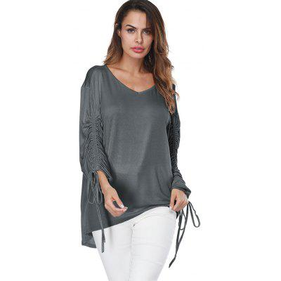 Drop Shoulder Drawstring Sleeve TopBlouses<br>Drop Shoulder Drawstring Sleeve Top<br><br>Collar: V-Neck<br>Material: Polyester, Spandex<br>Package Contents: 1 x Top<br>Pattern Type: Solid<br>Season: Fall, Spring<br>Shirt Length: Long<br>Sleeve Length: Full<br>Style: Casual<br>Weight: 0.3700kg