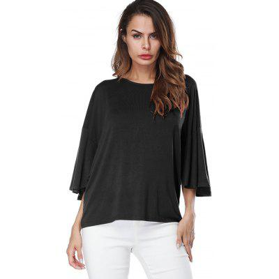 Drop Shoulder Butterfly Sleeve T-shirtTees<br>Drop Shoulder Butterfly Sleeve T-shirt<br><br>Collar: Round Neck<br>Material: Polyester<br>Package Contents: 1 x T-shirt<br>Pattern Type: Solid<br>Season: Spring, Fall<br>Shirt Length: Regular<br>Sleeve Length: Three Quarter<br>Style: Fashion<br>Weight: 0.3200kg