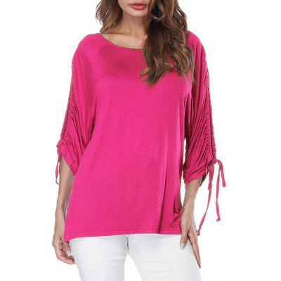 Long Slit Drawstring Sleeve T-shirt
