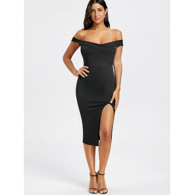 Off The Shoulder High Slit Midi DressBodycon Dresses<br>Off The Shoulder High Slit Midi Dress<br><br>Dresses Length: Mid-Calf<br>Embellishment: Slit<br>Material: Polyester, Spandex<br>Neckline: Off The Shoulder<br>Package Contents: 1 x Dress<br>Pattern Type: Solid Color<br>Season: Fall, Spring, Summer<br>Silhouette: Bodycon<br>Sleeve Length: Short Sleeves<br>Style: Sexy &amp; Club<br>Weight: 0.3100kg<br>With Belt: No