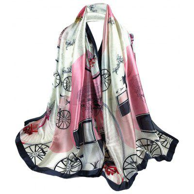 Unique Wheel and Castle Pattern Long Sheer Scarf