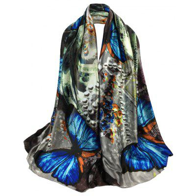 Vintage Butterfly Pattern Embellished Long Shawl Scarf
