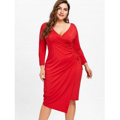 Plus Size Plunging Slit Wrap DressPlus Size Dresses<br>Plus Size Plunging Slit Wrap Dress<br><br>Dresses Length: Knee-Length<br>Material: Polyester<br>Neckline: Plunging Neck<br>Package Contents: 1 x Dress<br>Pattern Type: Solid Color<br>Season: Fall, Spring<br>Silhouette: Bodycon<br>Sleeve Length: 3/4 Length Sleeves<br>Style: Casual<br>Weight: 0.4000kg<br>With Belt: No