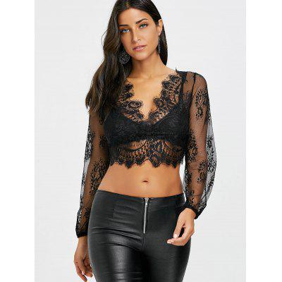 Plunging Neck Eyelash Lace TopBlouses<br>Plunging Neck Eyelash Lace Top<br><br>Collar: Plunging Neck<br>Embellishment: Lace<br>Material: Polyester<br>Package Contents: 1 x Top<br>Pattern Type: Solid<br>Season: Fall, Spring, Summer<br>Shirt Length: Short<br>Sleeve Length: Full<br>Style: Sexy<br>Weight: 0.1200kg