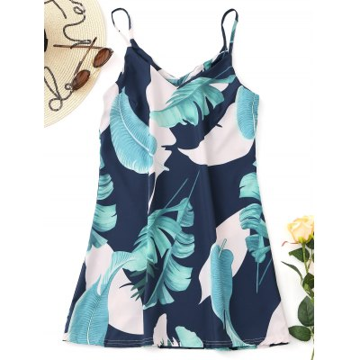 Tropical Printed Slip Mini Dress