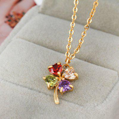 Rhinestone Valentines Day Heart Clover NecklaceNecklaces &amp; Pendants<br>Rhinestone Valentines Day Heart Clover Necklace<br><br>Gender: For Women<br>Item Type: Pendant Necklace<br>Length: 50CM<br>Necklace Type: Link Chain<br>Package Contents: 1 x Necklace<br>Shape/Pattern: Plant<br>Style: Trendy<br>Weight: 0.0300kg