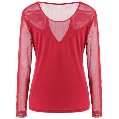Mesh Panel Long Sleeve T-shirtBlouses<br>Mesh Panel Long Sleeve T-shirt<br><br>Collar: Round Neck<br>Material: Cotton, Polyester<br>Package Contents: 1 x T-shirt<br>Pattern Type: Others<br>Season: Fall, Spring, Winter<br>Shirt Length: Regular<br>Sleeve Length: Full<br>Style: Casual<br>Weight: 0.3000kg