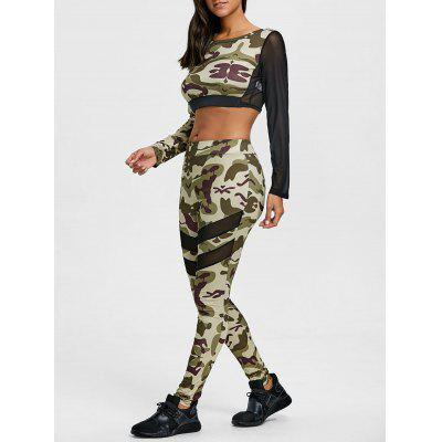Camouflage Mesh Insert Cropped Top and Leggings