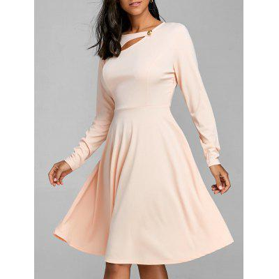 Long Sleeve Cut Out Flare Kleid